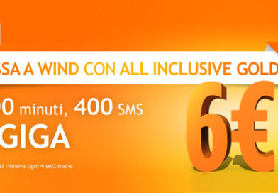 Wind All Inclusive Gold: offerta con 400 min, 400 SMS e 5 GB a 6€ per chi passa