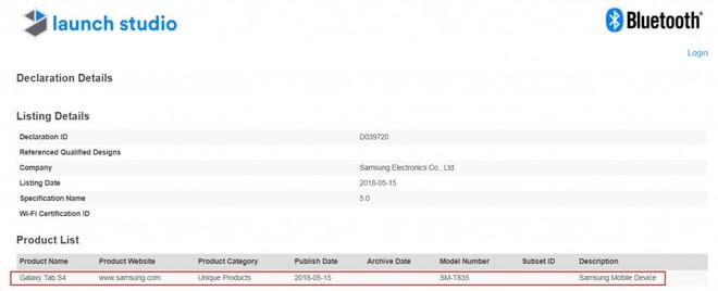Galaxy Tab S4 certificazione
