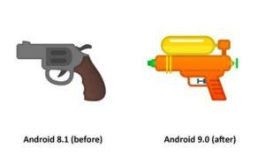 android 9.0 pie emoji pistola