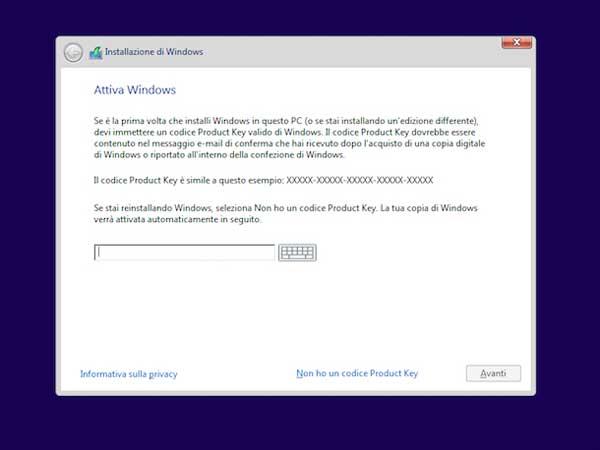 installare windows 10 da usb