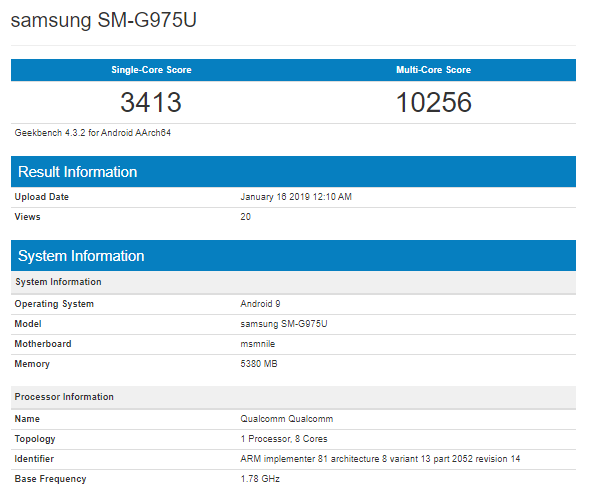 Galaxy S10+ Geekbench