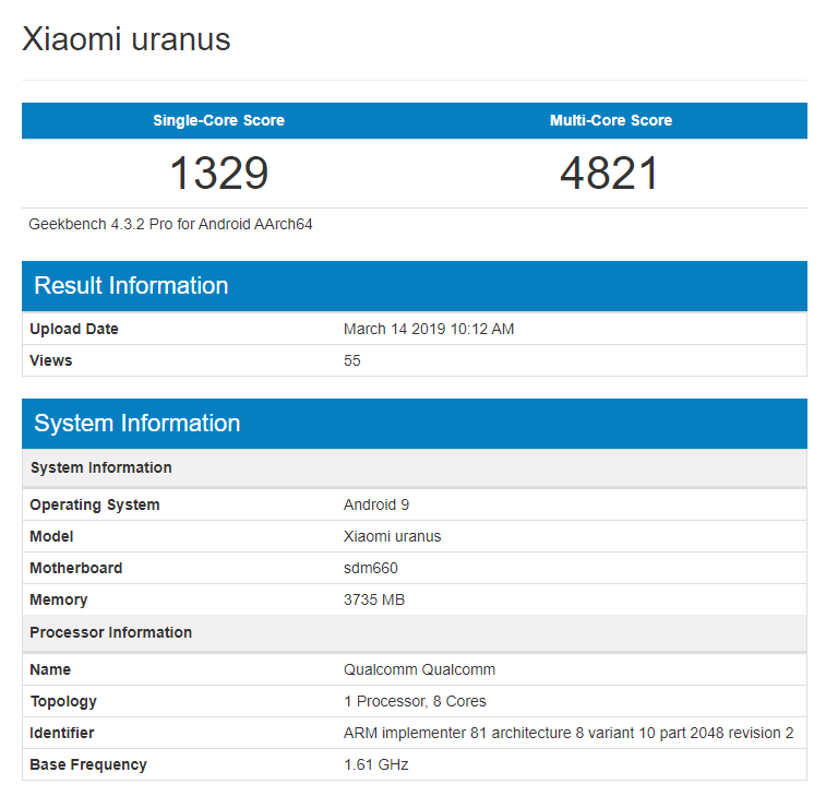 Xiaomi Pocophone F1 Lite esiste e spunta su Geekbench con Snapdragon 660