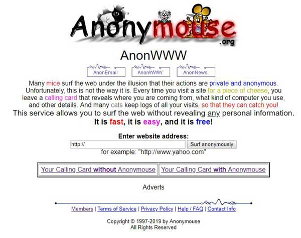 navigare anonimi anonymouse
