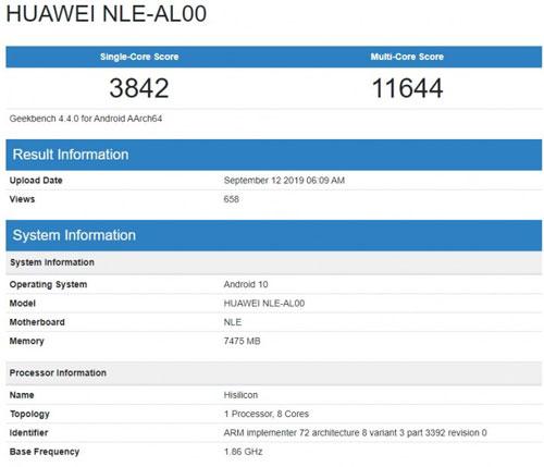 huawei geekbench kirin 990