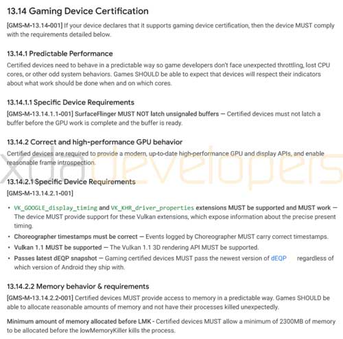 google game device certification