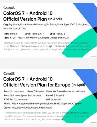 oppo coloros 7 roadmap cina europa