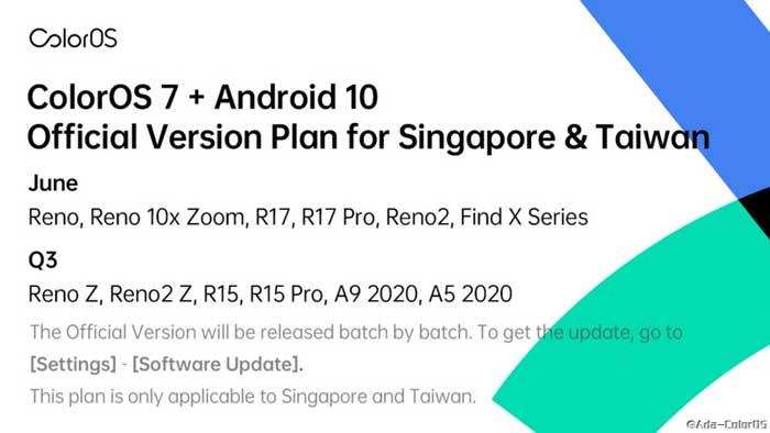 ColorOS 7 Singapore e Taiwan Maggio 2020