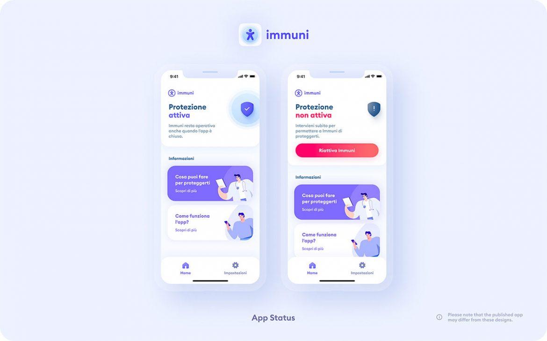 Immuni app coronavirus screenshot