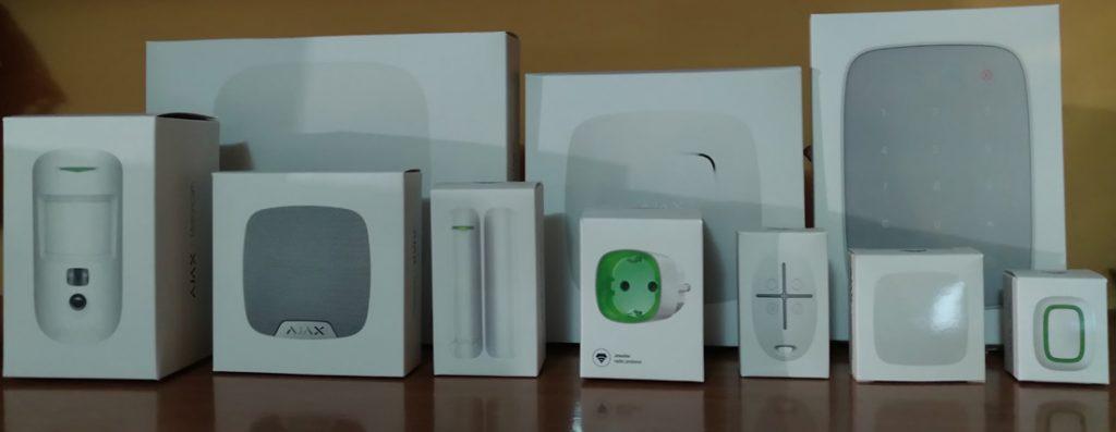 sistema di sicurezza ajax scatole