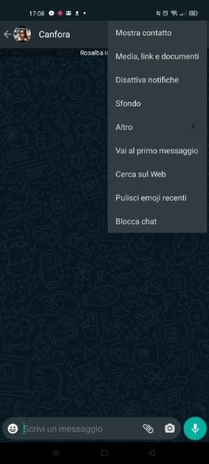menu conversazione whatsapp