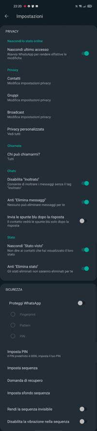 impostazioni privacy gbwhatsapp