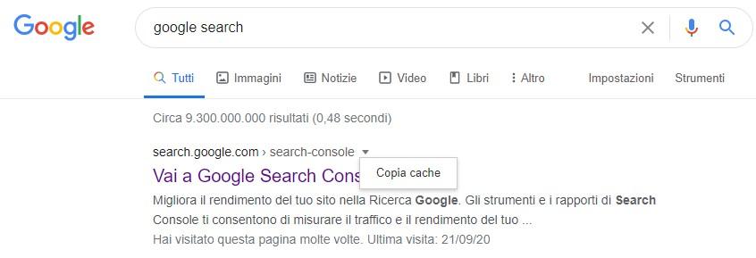 ricerca cache google