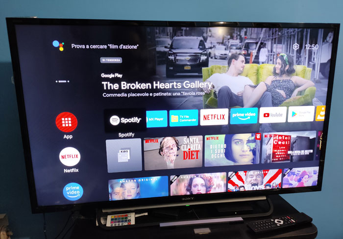 android TV 10 UI schermata Home