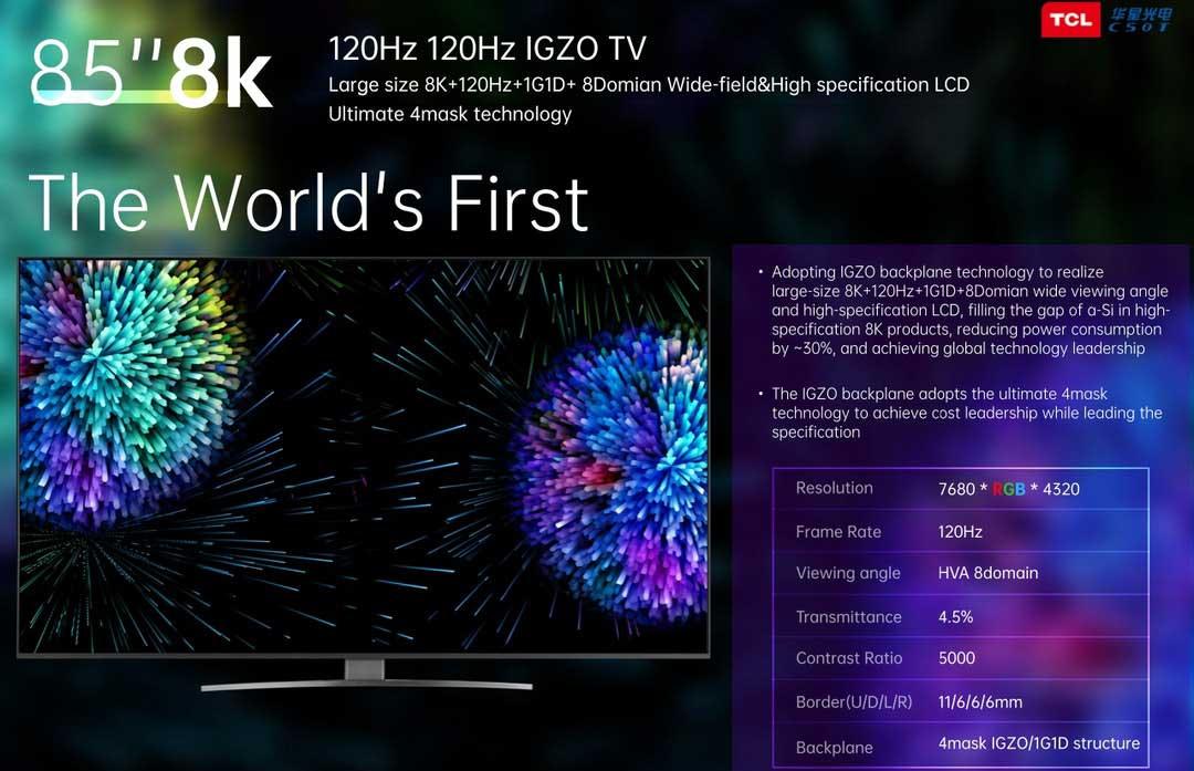 TCL display 8K Mini LED TV