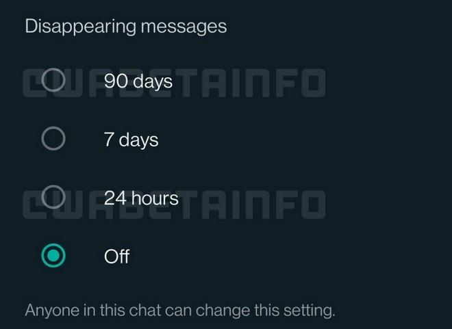 whatsapp messaggi effimeri 90 giorni